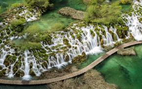 top view, waterfalls, river, bridge