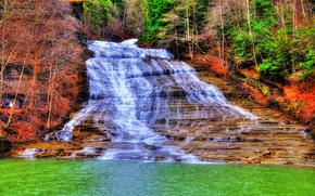 водопад, река, деревья, пейзаж, hdr