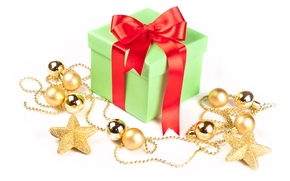 box, gift, tape, Christmas decorations, Balls, stars, New Year