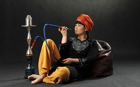 girl, brunette, Turban, smile, Jewelry, hookah