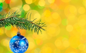 шарик, узоры, ёлочное украшение, ветка, ёлка, боке, Новый год