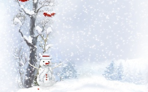snowman, scarf, buttons, tree, Berries, Trees, snowfall