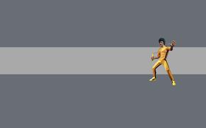 Bruce Lee, Kung Fu, nunchuck, fondo gris, banda, amarillo, hombre, Minimalismo