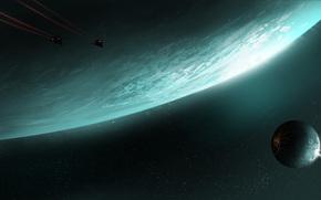 арт, космос, планета, спутник, корабли