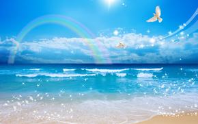 пейзаж, море, волны, красота, пузырьки, берег, песок, белые голуби, полет, небо, солнце, радуга, облака