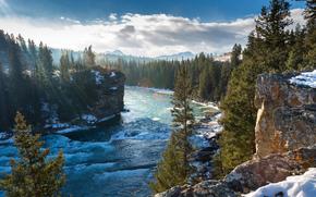 bow river, alberta, canada, река Боу, Альберта, Канада, горы, скалы, зима, деревья