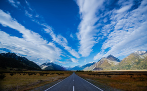 Neozelandese, strada, traccia, autostrada, Montagne, blu, Blu, cielo, nuvole