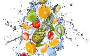 frutta, fresco, acqua, gocce, spruzzo, avocado, mela, limone, kiwi, fragola, pera, frutta, freschezza, acqua, gocce, spray, schizzo, avocado, mela, limone, kiwi, fragole, pera