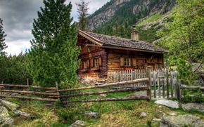 home, Austria, Alps, wooden fence, landscape