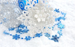 snowflake, White, Balls, Silver, Toys, Christmas, blue, shine, New Year, New Year, scenery, Christmas, patterns, Jewelry