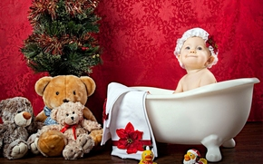 bonnet, toy, baby, child, Tree, duck, girl, Bath, teddy bear