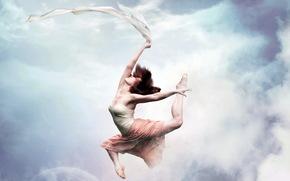 girl, dance, sky, style