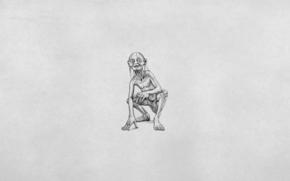 Il Signore degli Anelli, Gollum, bianco, minimalismo