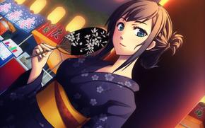 Art, fan, kimono, girl
