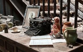 macchina da scrivere, sfondo, polvere