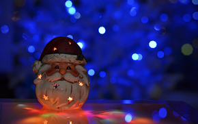 bokeh, New Year, New Year, candle, toy, Santa Claus, Christmas, Holidays