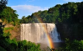 водопад, деревья, радуга