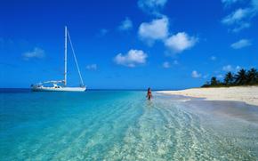Мальдивы, тропики, пляж, яхта