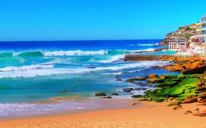 sea, beach, waves