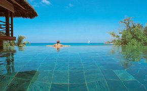 tropics, pool, girl