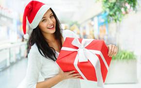 view, brunette, gift, box, New Year, girl, hood, smile, Snow Maiden, tape