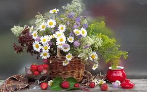basket, Berries, Flowers, flower, strawberry, bouquet, summer, nature, basket, Daisies