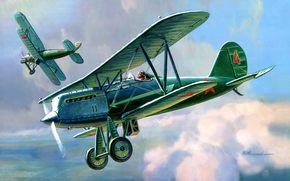 Soviet, Single, plane, polutoraplan, fighter, Designer, Polikarpov.
