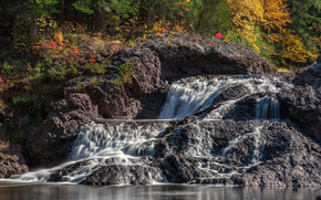 great conglomerate falls, michigan, cascade, autumn