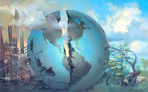 globe, Crack, animals, surrealism