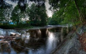 river, Trees, landscape