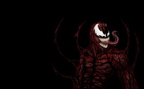 красное существо, человек-паук, черный фон