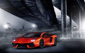 notte, semaforo, Aventador, colonne, ponte, Lamborghini, arancione, Lamborghini, fari, citt