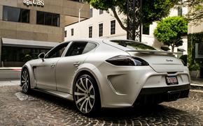 bianco, Mansory, Panamera, Turbo, Porsche, Porsche, strada, alberi