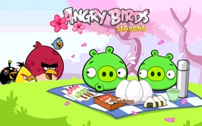Uccelli, Maiale, picnic, Angry Birds, gioco, uova