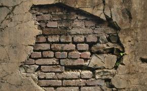 wall, hole, brick, crack