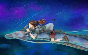 Chihiro, criceto, hackerare, Spirited Away, Arte, ragazza, notte, volo, uccello, Spirit River, Hayao Miyazaki, drago