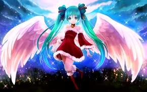 girl, City Lights, Vocaloid, joy, angel, wings, New Year