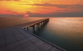 landscape, sea, river, ocean, water, pier, wharf, sunset, sun, clouds, sky, background, Widescreen, full screen, hd wallpapers