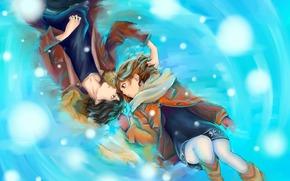ragazza, tipo, neve, amore, Manga, mittens, Arte