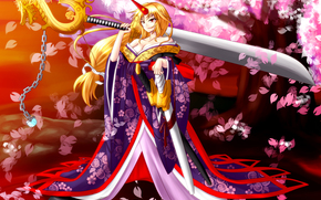 smile, girl, horn, weapon, view, sakura, Swords, mood