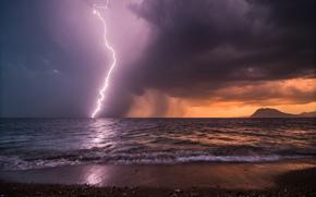 storm, sky, sea, evening, coast, lightning