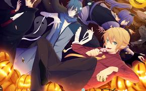 boys, branch, Art, Pumpkin, sky, clouds, Vocaloid, candy, Ghosts, moon, Halloween, holiday
