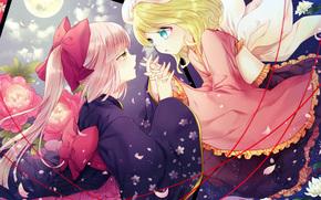 Tape, sky, Girls, Petals, Art, kimono, Flowers, Vocaloid, night, moon, clouds
