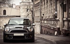 Mini Cooper, lights, city, autumn, machine, Mini, Car