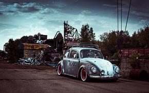 Volkswagen, Broken-down, nuvoloso, scaricare, scarafaggio