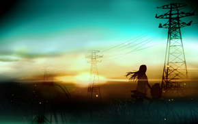 Art, sunset, Wire, landscape, bicycle, girl, lap