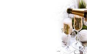 高脚杯, 假期, 圣诞装饰品, 枞树, 风景, 瓶, 球, 香槟酒, 喝, 新年, 圣诞节, 新年, 支