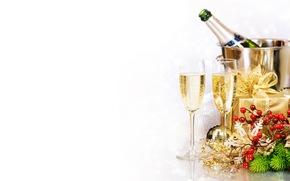 礼物, 新年, 高脚杯, 新年, 支, 假期, 瓶, 枞树, 香槟酒, 风景, 箱, 喝, 桶, 圣诞节