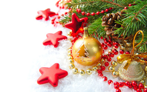 bell, branch, stars, Beads, New Year, Cones, Christmas decorations, snow, Tree