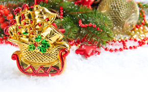 snow, sledge, gilding, Gifts, Christmas decorations, New Year, Tree, Berries, stars